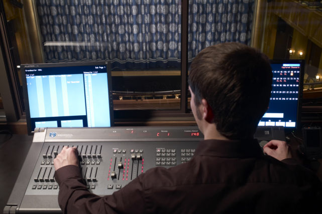 Student operating audio controls
