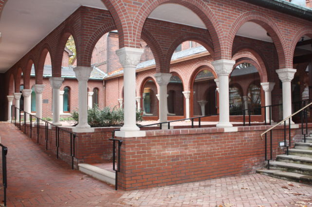 Brick Courtyard with Cement Supports