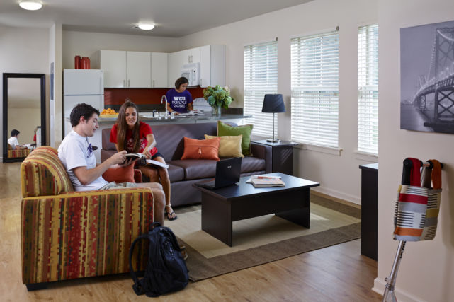 Students living in renovated rooms