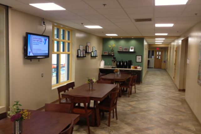 renovated YMCA cafe area