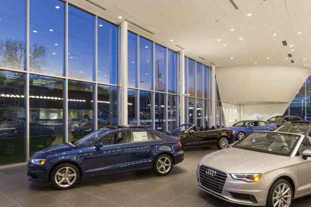 New Construction Audi Showroom with Vehicles