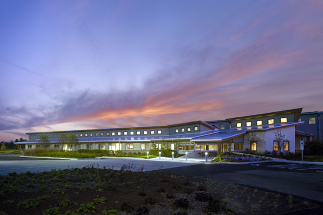 Remodeled office and warehouse building, evening photo