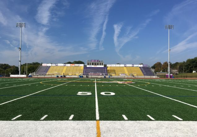 High school stadium 50 yard line and seats