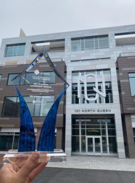 The Leadership Award next to the 101NQ building.
